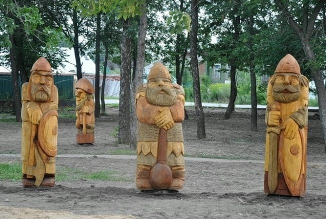 Three bogatyrs in Vladimir region, Russia