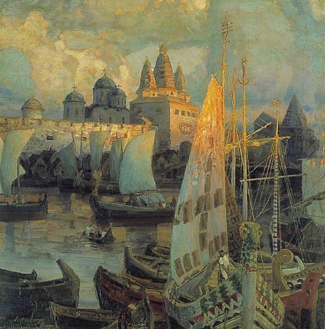 Varangian ships in Veliky Novgorod. 1902