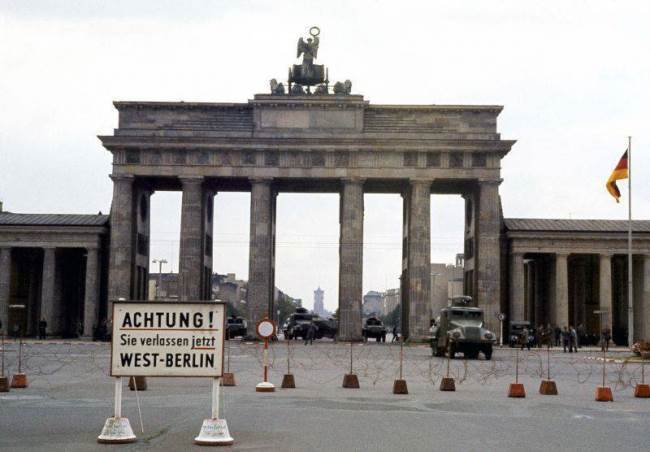 View of the Brandenburg Gate from the side of West Berlin, August 13, 1961