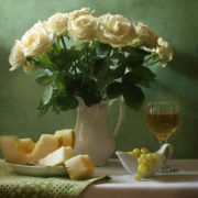 White roses and melon