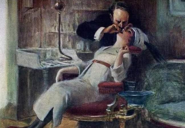 Albert Guillaume. At the dentist