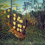 Barsik Attack at Ugolek. Original - Henri Rousseau, Tiger attack at the bull