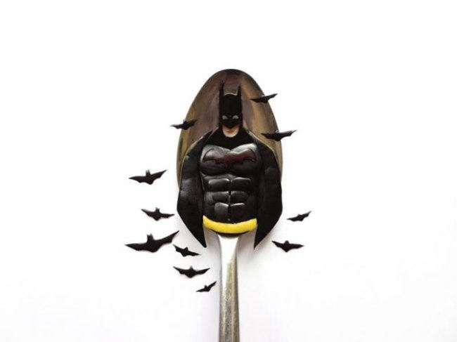 Batman on a spoon by Ioana Vanc