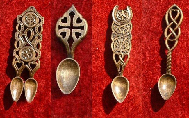 Beautiful Celtic love spoons