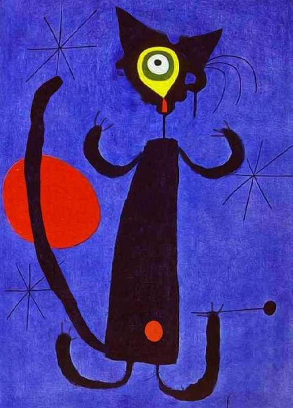 Cat in front of the Moon. Original - Juan Miro, Woman in Front of the Sun