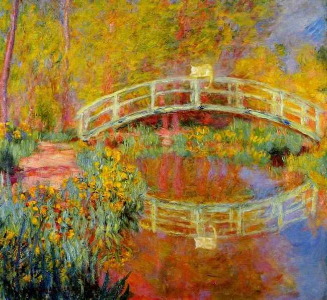 Cat on the Japanese bridge. Original - Claude Monet, The Japanese Bridge