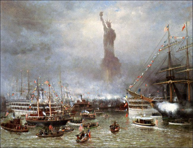 Celebrations on the opening of the Statue of Liberty. Artist Frederic Rondel