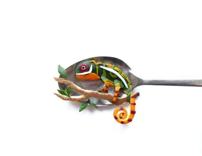 Chameleon on a spoon by Ioana Vanc