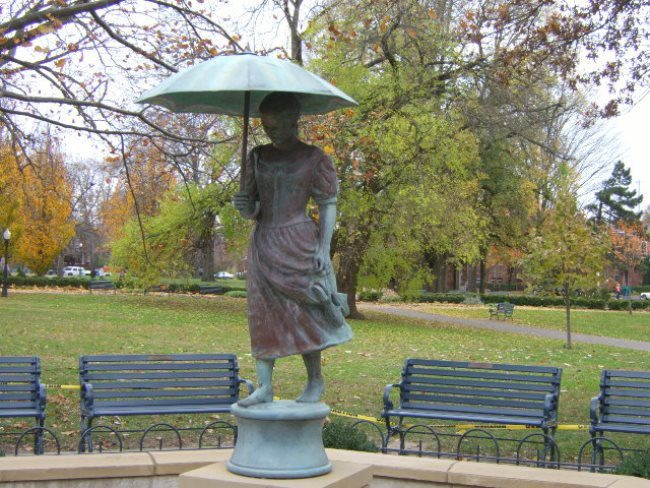 Fountain Girl with umbrella in Germany