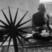 Gandhi with spinning wheel
