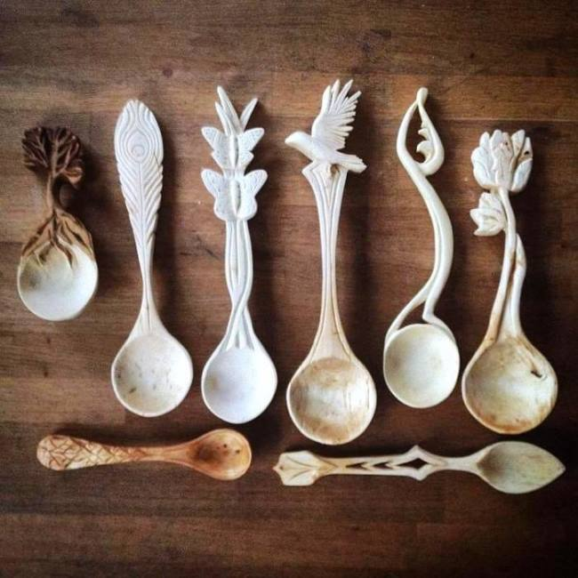 Giles Newman. Wonderful carved spoons