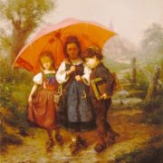 Henry Mosler. Children under a Red Umbrella. 1865