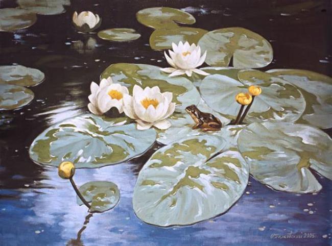 Igor Belkovsky. Lilies and the frog