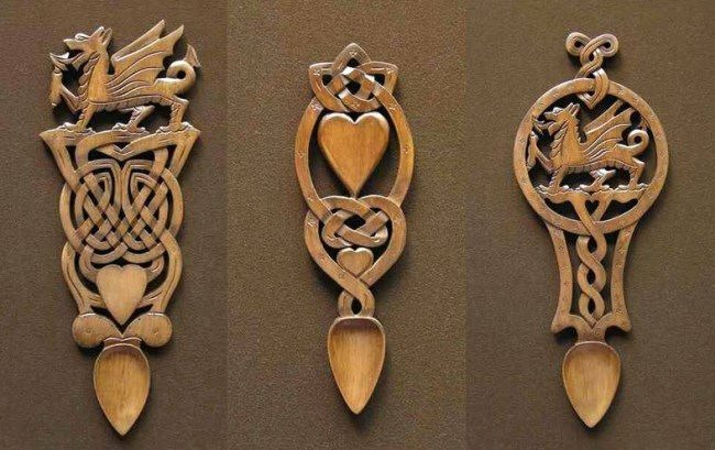 Interesting Celtic love spoons