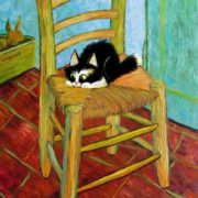 Kitten on a chair. Original - Vincent Van Gogh, Vincent's Chair with His Pipe