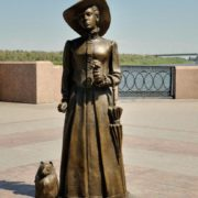 Lady with a Dog in Astrakhan, Russia