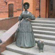 Lady with a dog in Mogilev, Belarus