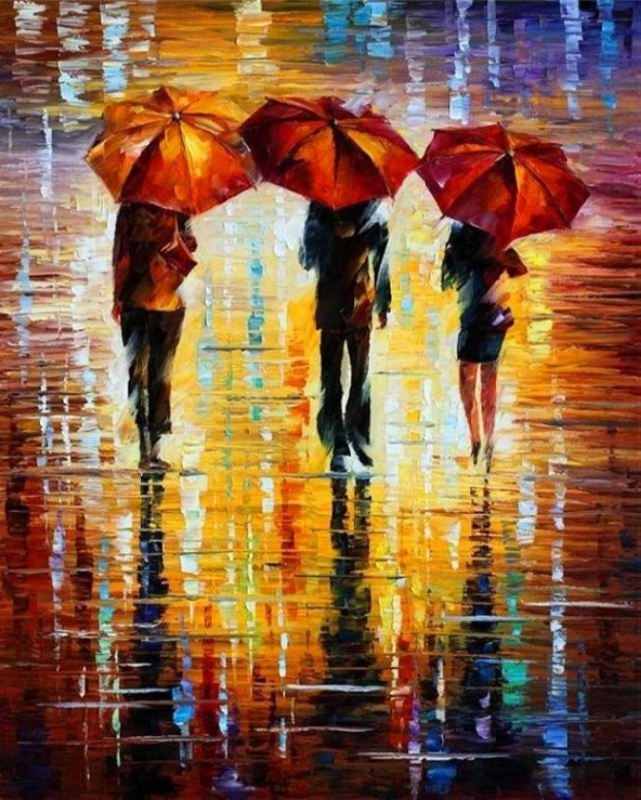Leonid Afremov. Three red umbrellas
