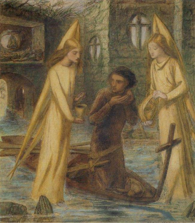 Lizzi Siddal. Sir Galahad at the Shrine of the Holy Grail
