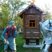Monument to Baba Yaga and Koshchei Immortal in Evpatoria, Crimea, Russia