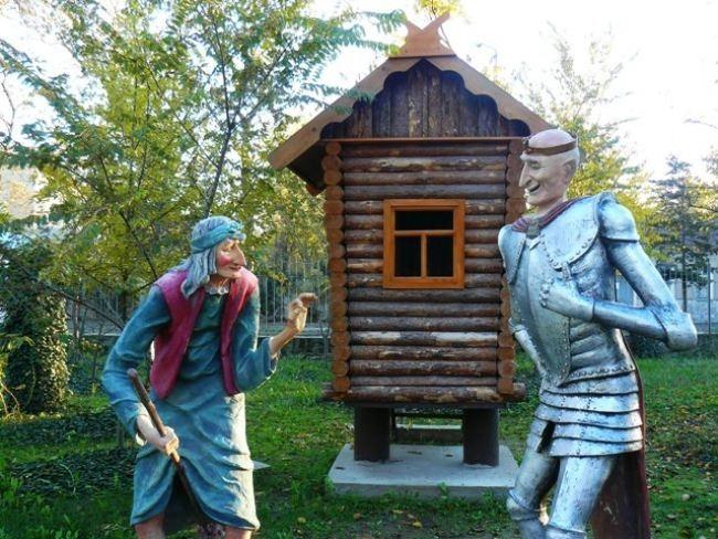 Monument to Baba Yaga and Koshchei Immortal in Evpatoria, Crimea, Russia