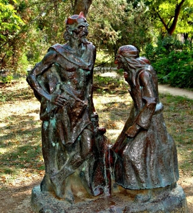 Monument to Baba Yaga and Koshchei the Immortal in Crimea, Russia