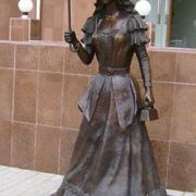 Monument to a girl with an umbrella in Kostanay, Kazakhstan