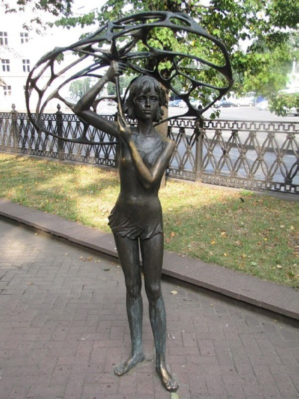 Monument to a girl with an umbrella in Minsk, Belarus