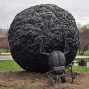 Monument to a scarab beetle in Russia