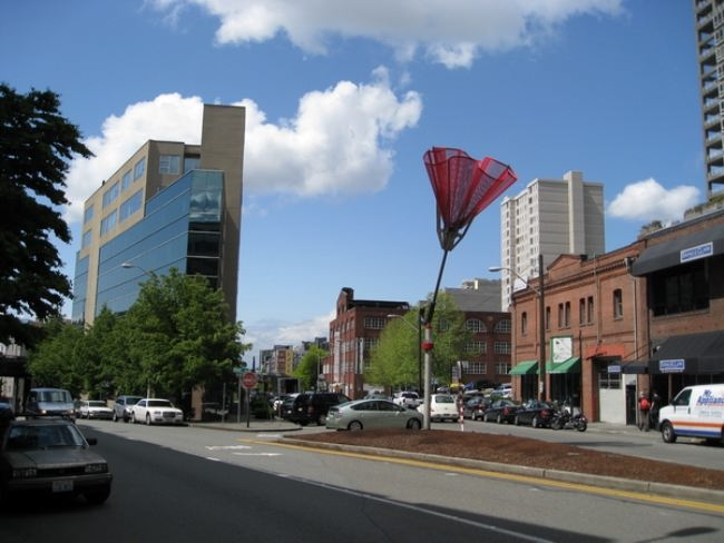 Monument to an inverted umbrella in Seattle, USA