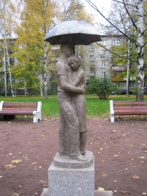 Monument to lovers with an umbrella in St. Petersburg, Russia