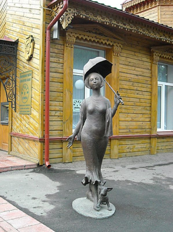 Monument to the Chekhov's Lady with a dog in Penza, Russia