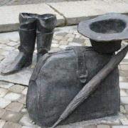Monument to the umbrella, briefcase, boots and hat of Kisy Vorobyaninov in Pyatigorsk, Russia
