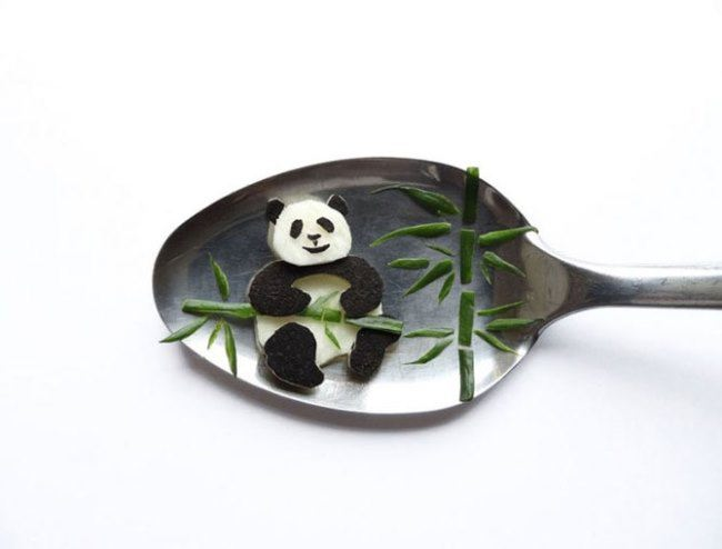 Panda on a spoon by Ioana Vanc