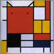 Red-faced cat. Original - Piet Mondrian, Composition with red, blue, black, yellow and gray