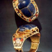 Rings with blue scarab