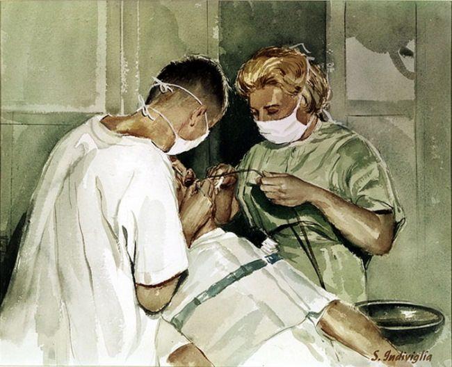 Salvatore Indiviglia. Dental assistant. watercolor, 1961