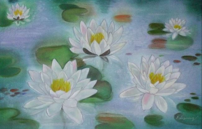 Svetlana Loginova. Morning on a pond with water lilies, 2008