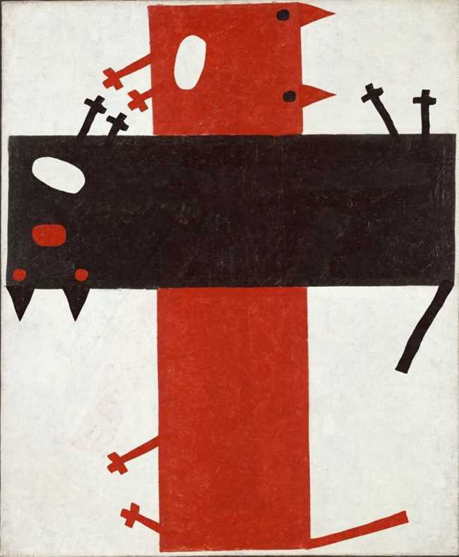 The March fight. Original - Kazimir Malevich, Suprematist composition 4