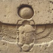 The relief with the image of the scarab in Ancient Egypt