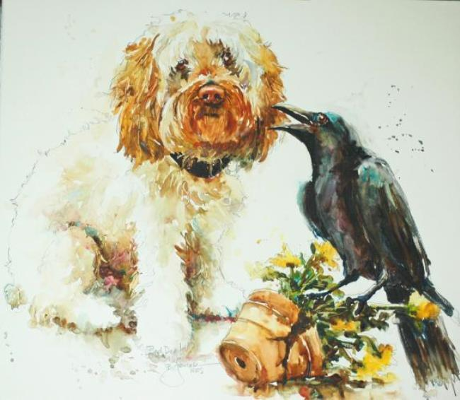 A dog and a crow