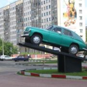 Monument to the car in Belgorod, Russia