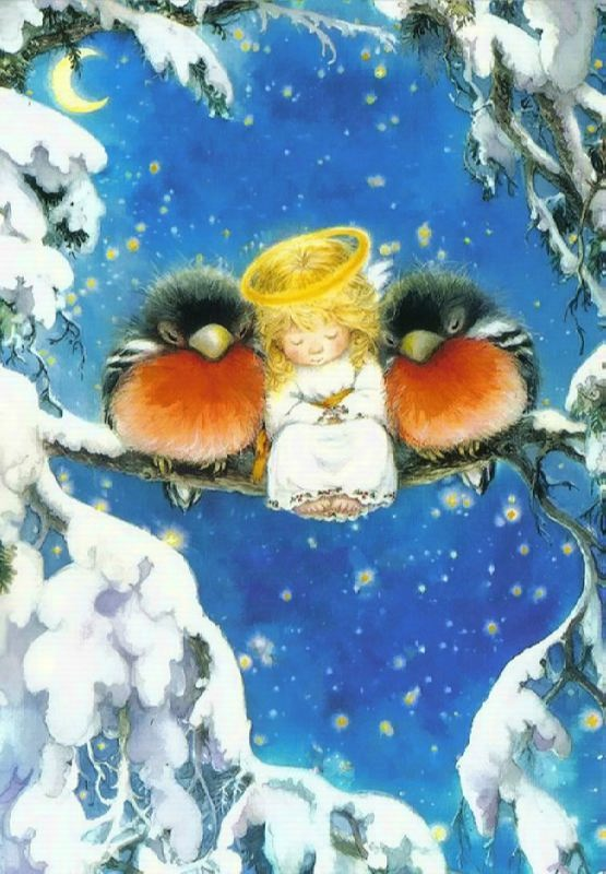 Angel and two bullfinches