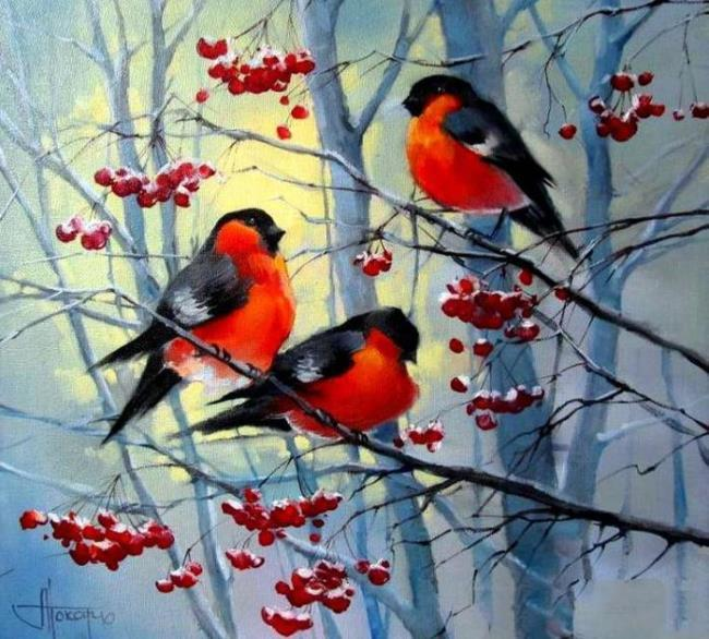 Ashberry and bullfinches