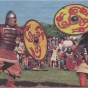 Participants of the Viking Festival are fighting in the Peter and Paul Fortress