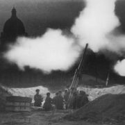 Anti-aircraft guns at the St. Isaac's Cathedral at night