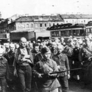 Column of German prisoners of war on Nevsky Prospekt, July 1942