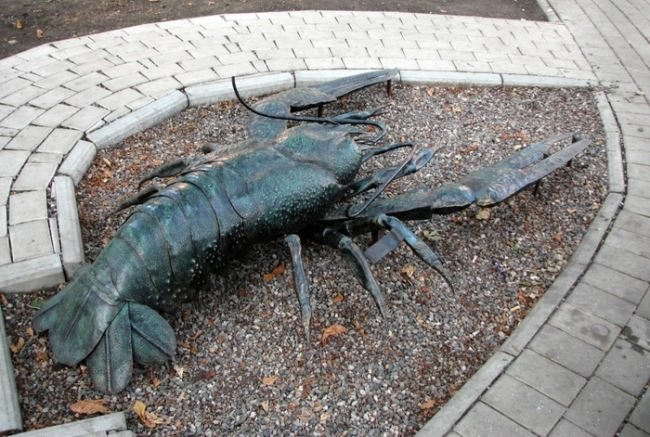 Crayfish Monument in Donetsk, Ukraine