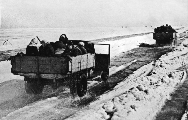 Evacuation of people from besieged Leningrad by trucks on the Road of Life, 1941