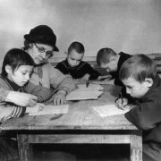 School lesson in the Leningrad bomb shelter, 1942
